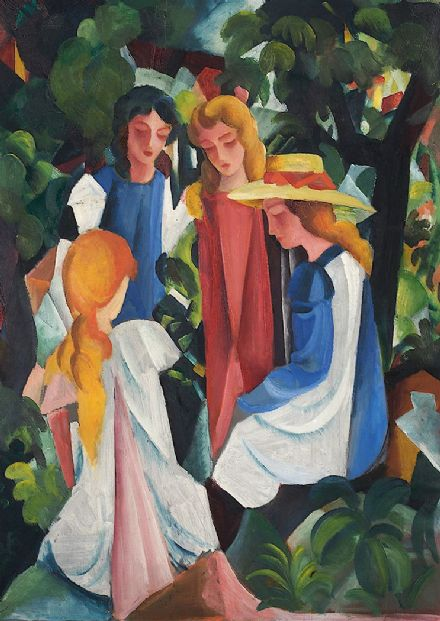 Macke, August: Four Girls. Fine Art Print/Poster. Sizes: A4/A3/A2/A1 (002174)